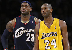 """Of 19 NBA general managers who weighed in on the """"who's better"""" debate, Kobe Bryant, right, was selected by a 12-7 margin over LeBron James."""