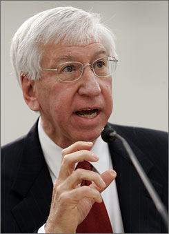 Myles Brand, shown speaking on Capitol Hill in February 2007, was diagnosed with late-stage pancreatic cancer in December, but the 66-year-old president says he'll stay on the job &quot;as long as I'm able to contribute in a full-blown way.&quot;