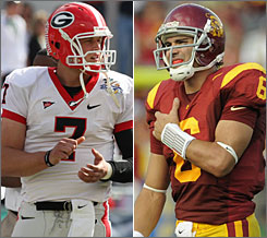 Georgia's Matthew Stafford, left, and Southern California's Mark Sanchez are two of the top quarterbacks attending this week's NFL combine.
