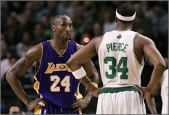 The Celtics' Paul Pierce got the best of the Lakers' Kobe Bryant, left, in the NBA Finals, but Los Angeles swept Boston this season and hopes to build on that in its quest for a title.