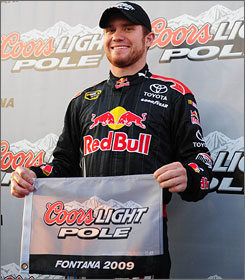 Red Bull Racing's Brian Vickers was smiling after he captured the pole position for Sunday's Auto Club 500 in Fontana, Calif. However, about an hour later, Vickers found out his team would have to change the engine in his No. 83 Toyota, sending him to the back of the 43-car field.