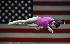American Jordyn Wieber, 13, flips in the air during her floor exercise routine. Wieber became the second-youngest women's champion in the history of the Tyson American Cup.