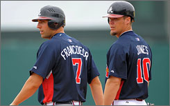 Outfielder Jeff Francoeur (7) and third baseman Chipper Jones (10) need to carry the offensive load for the Braves in 2009.