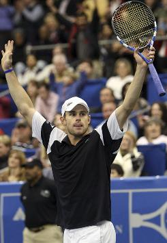 Andy Roddick celebrates his win over Radek Stepanek in the finals of the Regions Morgan Keegan Championships in Memphis
