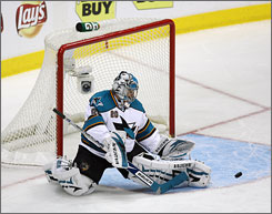 San Jose goalie Evgeni Nabokov, making a save against the Dallas Stars during the first period, recorded his 45th career shutout as the Sharks won 1-0.