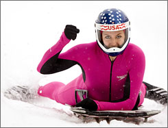 Noelle Pikus-Pace, shown at this month's World Cup skeleton race in Utah, is competing at the world championships at Lake Placid, N.Y., this week. She hopes to be a 2010 Olympian.