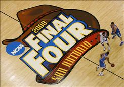 Kansas, the 2008 men's champion, bought last year's Final Four court, being played by Memphis and UCLA in San Antonio. The school has been selling pieces of it to raise money.