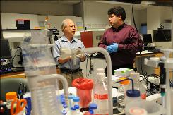 "George Mason University researchers Lance Liotta, left, and Emanuel ""Chip"" Petricoin used nanoparticles to develop a urine test for human growth hormone."