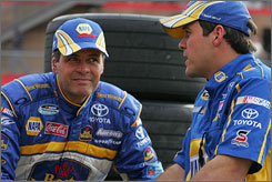 "Michael Waltrip, left, credits the addition of crew chief Robert ""Bootie"" Barker, right, for some of the initial improvement in his Michael Waltrip Racing team."