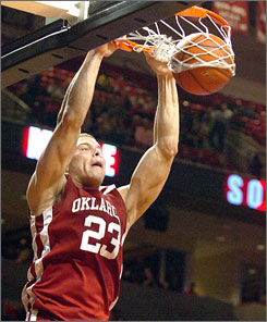 Oklahoma's Blake Griffin slams home two points during the Sooners' victory over Texas Tech on Saturday. Griffin was playing his first game since suffering concussion in a game vs. Texas on Feb. 21.
