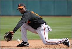 San Francisco Giants shortstop Edgar Renteria, 33, is one of the elder statesman on the Giants team.