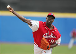 Pedro Lazo, pitching vs. Panama during the 2006 World Baseball Classi, will again be Cuba's closer in this year's tournament, but he's usually a starter in his country's league.