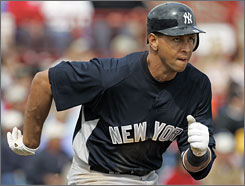 Alex Rodriguez batted .302 with 35 home runs in 138 games last season.