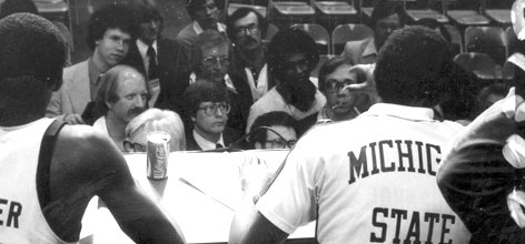 Malcolm Moran (top left, light jacket) and David DuPree (center in light sweater) were front and center for the 1979 title game.