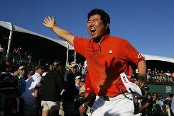 Y.E. Yang, of South Korea, celebrates after winning the Honda Classic golf tournament in Palm Beach Gardens, Fla. Yang shot two under par during the final round to win with a score of nine under par.