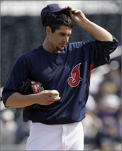 Cleveland Indians pitcher Carl Pavano, who signed a four-year, $39.95 million contract with the New York Yankees in 2005, went 8-9 in 26 starts under the contract.