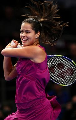 Ana Ivanovic plays a backhand in her semifinal match against Serena Williams during the BNP Paribas Showdown for the Billie Jean Cup at Madison Square Garden. She didn't win that tournament, but heads into Indian Wells as the defending champion.