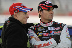 Jeff Gordon (right, with teammate Mark Martin) has three top-10 finishes in four Sprint Cup races this season.