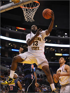 Arizona State's James Harden gets off a shot in the lane during the Sun Devils' 68-56 victory in the quarterfinals of the Pac-10 tournament.
