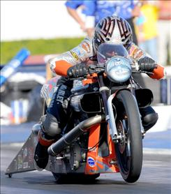 Eddie Krawiec and his Screamin' Eagle Vance & Hines Harley-Davidson won the NHRA's Full Throttle Drag Racing Series crown last year with no victories.