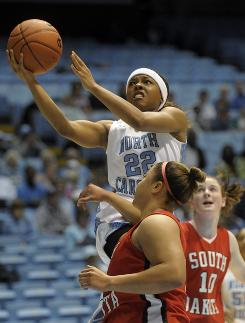 Cetera DeGraffenreid and the Tar Heels squeaked by South Dakota, 75-69, in a game added to North Carolina's schedule to help fill the two-week gap between the ACC and NCAA tournaments.