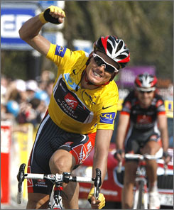 Luis-Leon Sanchez celebrates after crossing the finish line on Stage 8 to ensure his victory at Paris-Nice.