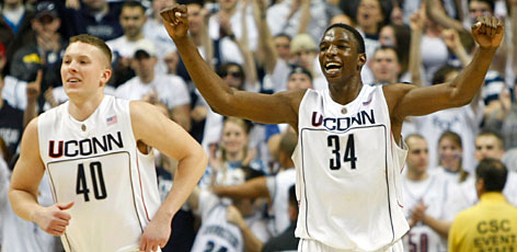 Connecticut center Hasheem Thabeet, right, will be leading the Huskies as they attempt to reach the Final Four in Detroit.