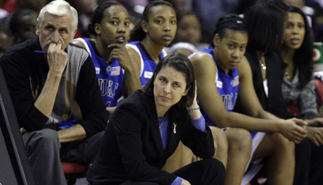 "Coach Joanne P. McCallie, kneeling, and her Duke Blue Devils earned the No. 1 seed in the Berkeley Regional, but a matchup with McCallie's former team, Michigan State, looms in the second round. ""I don't know if that's some drama by the committee,"" McCallie said."