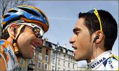 American cyclist Christian Vandevelde, left, and Spanish rider Alberto Contador will go head-to-head at this year's Tour de France.