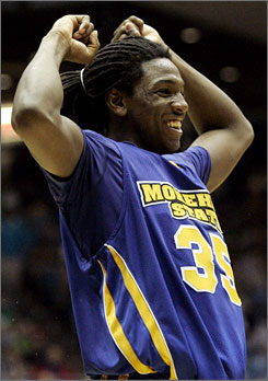 Morehead State forward Kenneth Faried has plenty to smile about after his Eagles defeated Alabama State in the NCAA tournament's play-in game.