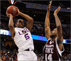 """Marcus Thornton is LSU's do-it-all senior guard that hopes his senior year gets to continue past this weekend at the NCAA tournament. """"It's tough being a senior,"""" he says. """"You know you have a lot riding on the next game you play. If you lose, you're done. If you win, you keep going. We don't want to lose."""""""