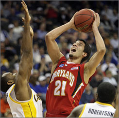 Maryland's Greivis Vasquez gets off a shot in the lane during the Terps' upset of seventh-seeded Cal in Kansas City, Mo.