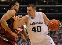 Washington forward Jon Brockman, the Huskies' career rebound leader comes into the second-round matchup with Purdue averaging 14.7 point and 11.3 rebounds a game.