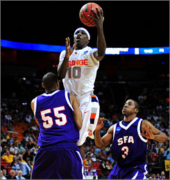 Syracuse guard Jonny Flynn had his way with the Stephen F. Austin defense in the Orange's victory.