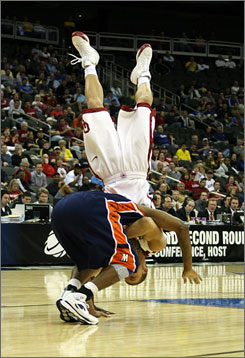 Oklahoma's Blake Griffin got flipped over by Morgan State's Ameer Ali during the Sooners' first-round victory Thursday night in Kansas City, Mo. Ali was ejected after the incident occurred.