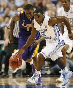 North Carolina's Ty Lawson scored 21 second-half points to help the Tar Heels advance to the Sweet 16 in the South Regional.