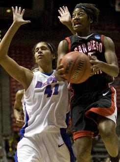 San Diego State's Jene Morris, driving past DePaul's Felicia Chester, scored a career-high 35 points to help the Aztecs advance in the NCAA tournament.