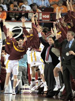 The Iowa State bench had a lot to cheer about, including 16 three-pointers, during the Cyclones' 85-53 first-round win over East Tennessee State.