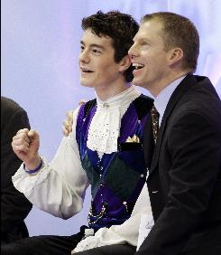 Tom Zakrajsek coaches the top two United States skaters: Brandon Mroz, celebrating after his men's short program score at the U.S. Figure Skating Championships in Cleveland on Jan. 23, and Jeremy Abbott.