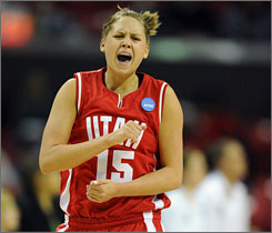 Utah's Morgan Warburton reacts in the first half as the Utes pulled away from Villanova to reach the second round in College Park, Md.