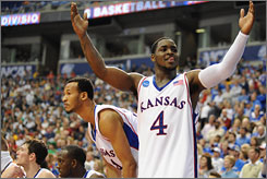 Sherron Collins and the defending champion Kansas Jayhawks are back in the Sweet 16 and is one of nine teams left in the field that has won a national championship.