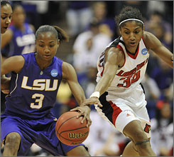 Louisville's Angel McCoughtry, reaching for the loose ball next to LSU's Latear Eason, scored 28 points to help the Cardinals end the Lady Tigers' shot at advancing to a sixth-straight Final Four.