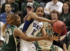 Chante Black and Duke became the first top-seeded team to fall out of the NCAA women's tournament when Lykendra Johnson and Michigan State outscored the Blue Devils 16-2 in the game's final 7 1/2 minutes.