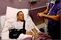 Lance Armstrong underwent surgery to repair his broken collarbone at Dr. Doug Elenz' clinic in Austin, Texas on Wednesday.
