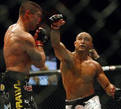 BJ Penn of Hawaii, right, lands a punch on his way to victory over a bloodied Joe Stevenson. By any ranking, he is one of the top fighters in UFC.