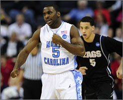 Ty Lawson's toe didn't seem to affect his play vs. Gonzaga as North Carolina's point guard tallied 19 points and nine assists in the Tar Heels' 98-77 triumph over Gonzaga.