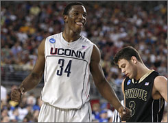 """Missouri doesn't think that UConn big man Hasheem Thabeet can keep up with the Tigers' fast-paced style for 40 minutes. Thabeet's response:  """"I'm a big guy, but I think I run pretty well."""""""