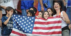 U.S. fans show their colors before the game in San Salvador.