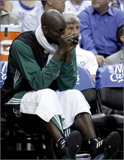 After a brief return to the lineup, Celtics forward Kevin Garnett missed Sunday's game vs. the Thunder and will probably miss Wednesday's against the Bobcats.