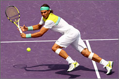 Rafael Nadal of Spain returns a shot during his 7-5, 6-3 win against Frederico Gil in the third round Monday in the Sony Ericsson Open. Nadal improved his match record this year to 23-2.